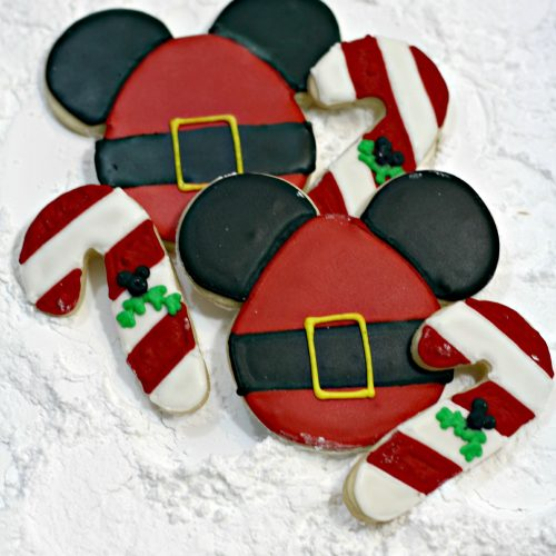 Cookies decorated like Santa Mickey Mouse