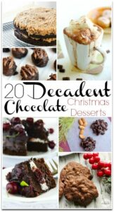 These 20 Decadent Chocolate Christmas Desserts will have you wanting to make every one! I search for dessert recipes every holiday, and I've found some amazing treats this year!