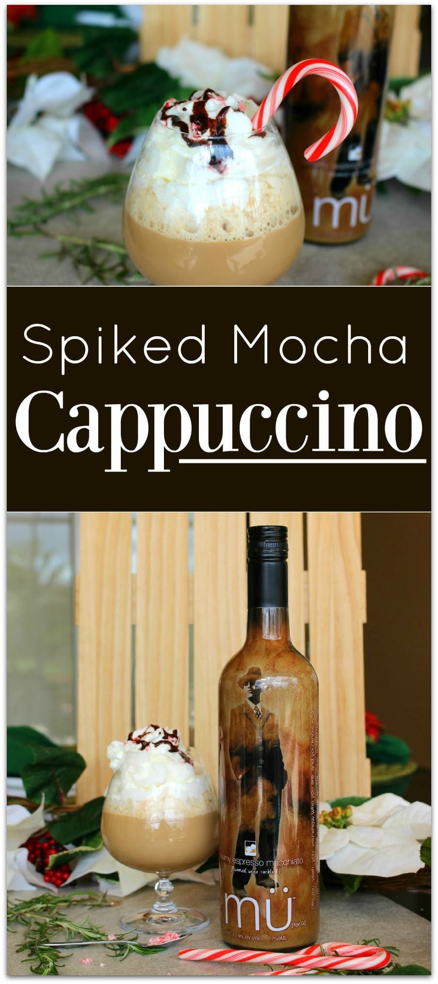 Looking for an easy dessert recipe? You've found it! This Spiked Mocha Cappuccino is so delicious and such an easy recipe! A drizzle of chocolate gives it that mocha flavor, and the peppermint adds holiday cheer!
