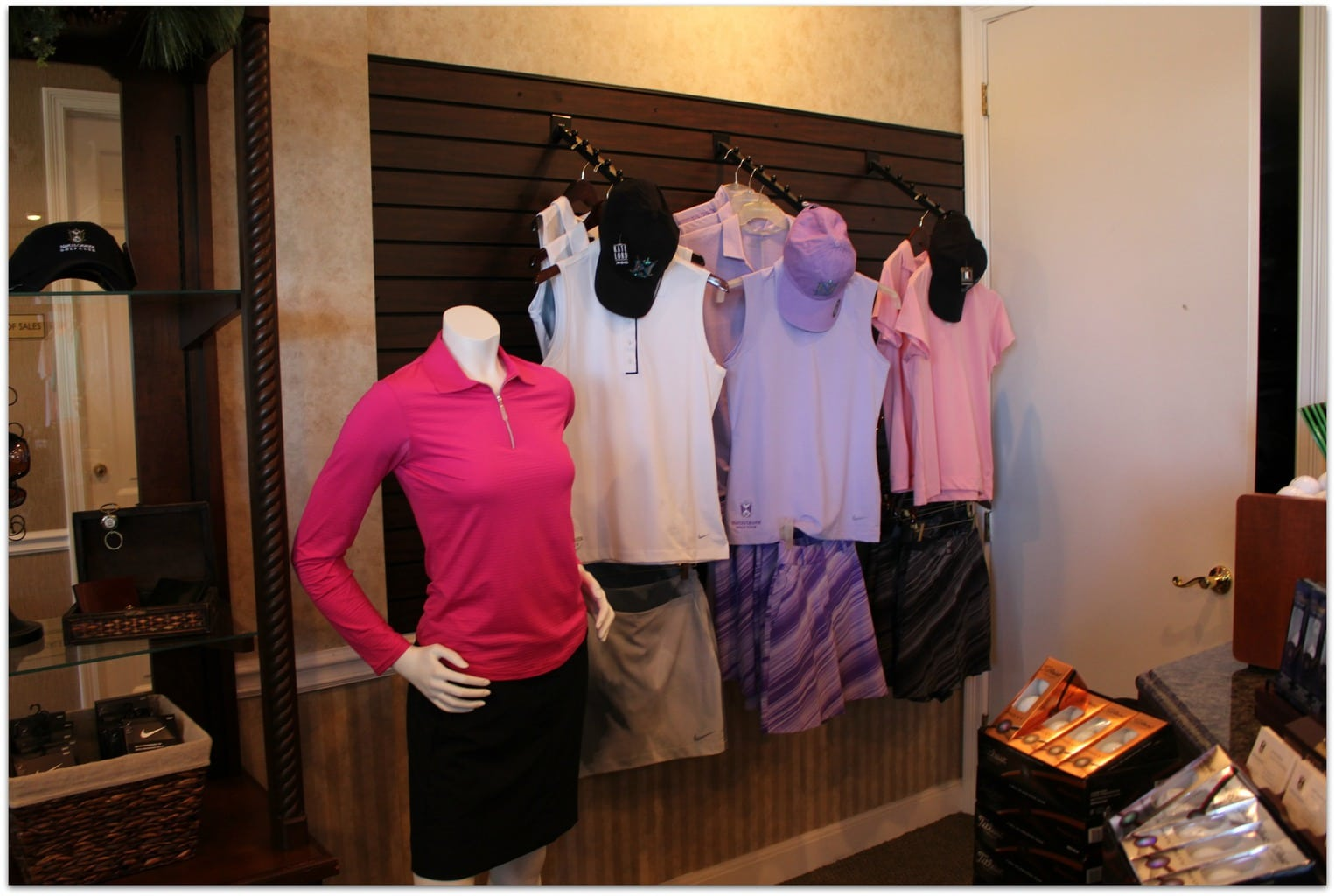 The golf shop at the Naples Grande Beach Resort had a great selection of clothing, hats, and everything else you might need, including clubs and shoes to rent, as well as instruction from PGA pros.