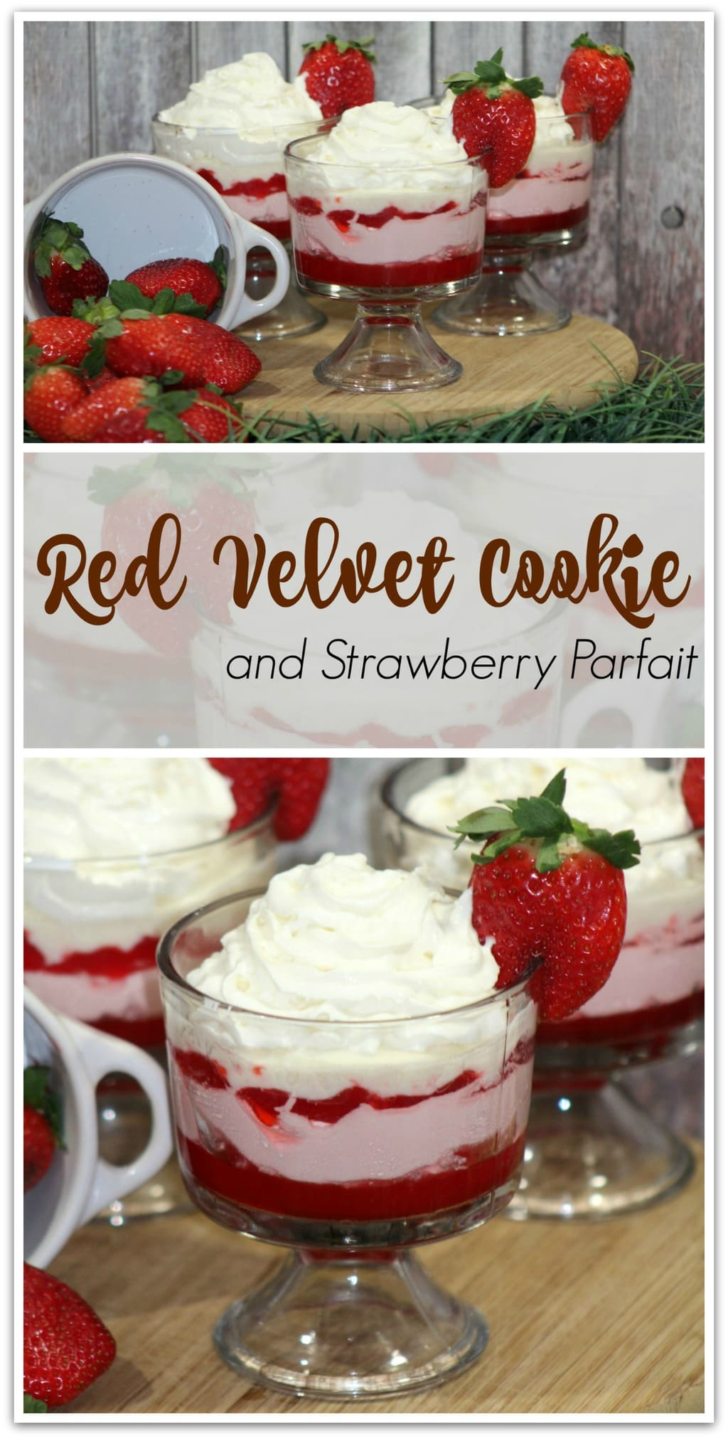 This Red Velvet Cookie and Strawberry Parfait will wow your friends and family, and it's an easy recipe! Don't go out and buy desserts when you can head to the kitchen and make this recipe yourself! This easy dessert is perfect for Valentine's Day or any day you want to make something special!