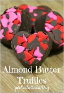 These Almond Butter Truffles are the perfect treat for Valentine's Day - or any day you want to say I love you! It's such an easy recipe, and the heart truffles turn out so pretty. Head to the kitchen with the kids and let them help! When asked to bring food to that Valentine's Day party, this is a wonderful dessert and will stand out among all those cookies and cupcakes!
