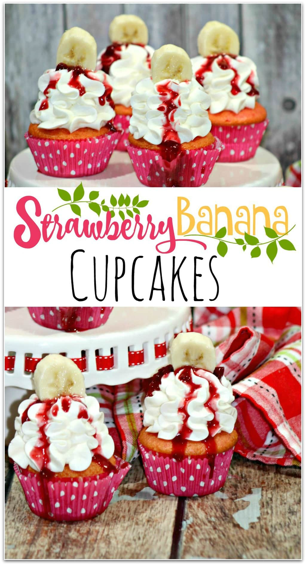 Aren't these strawberry banana cupcakes pretty? They would make a beautiful centerpiece at a Valentine's Day party! When I'm asked to bring food to a school party or a friend's get together, I tend to go with a dessert, and cupcakes are such an easy recipe! I don't need to worry about spoons or forks, which makes things even easier. Though these cupcakes work for any party, I think they would be so cute surrounded by little conversation hearts, don't you?