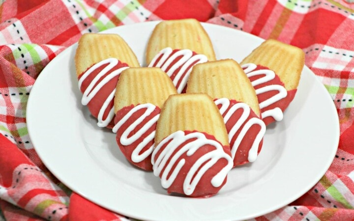 We love cookies around here, and these Chocolate Covered Madeleines are not only delicious, they are so pretty! Make it the centerpiece on your kitchen table for Valentine's Day, or add them to a pretty Valentine's basket for your kids! Need a dessert for the classroom party? Everyone will love these cookies, and it's an easy recipe, too!
