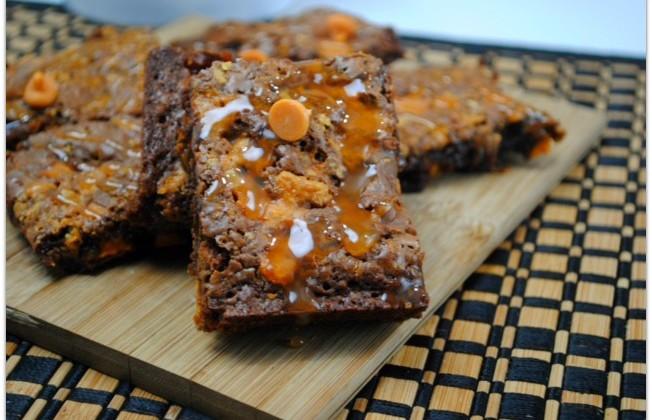 Decadent Butterfinger Brownies