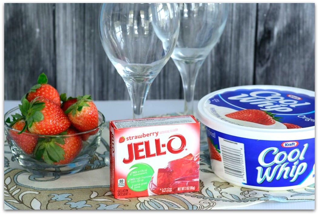 Jello Parfait INGREDIENTS 1 package (3oz) Strawberry Jello-o 1 cup sliced fresh strawberries (optional) 1 cup thawed Cool Whip whipped topping