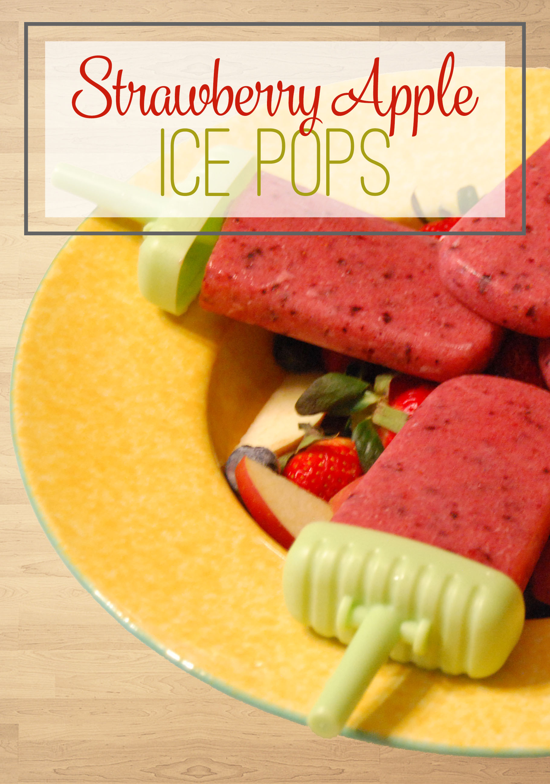 These Healthy Strawberry Apple Ice Pops are the perfect treat any time of day! This recipe is made with only fruit and no added sugar, and is a healthier alternative to Popsicles and ice cream, perfect for those of us who are trying to trim down for summer swim suits! Strawberries and apples are a yummy combination for this delicious treat, and instead of sugar, we've just added more fruit! This easy recipe will have you in and out of the kitchen in minutes, and you will love the flavor of this icy treat!
