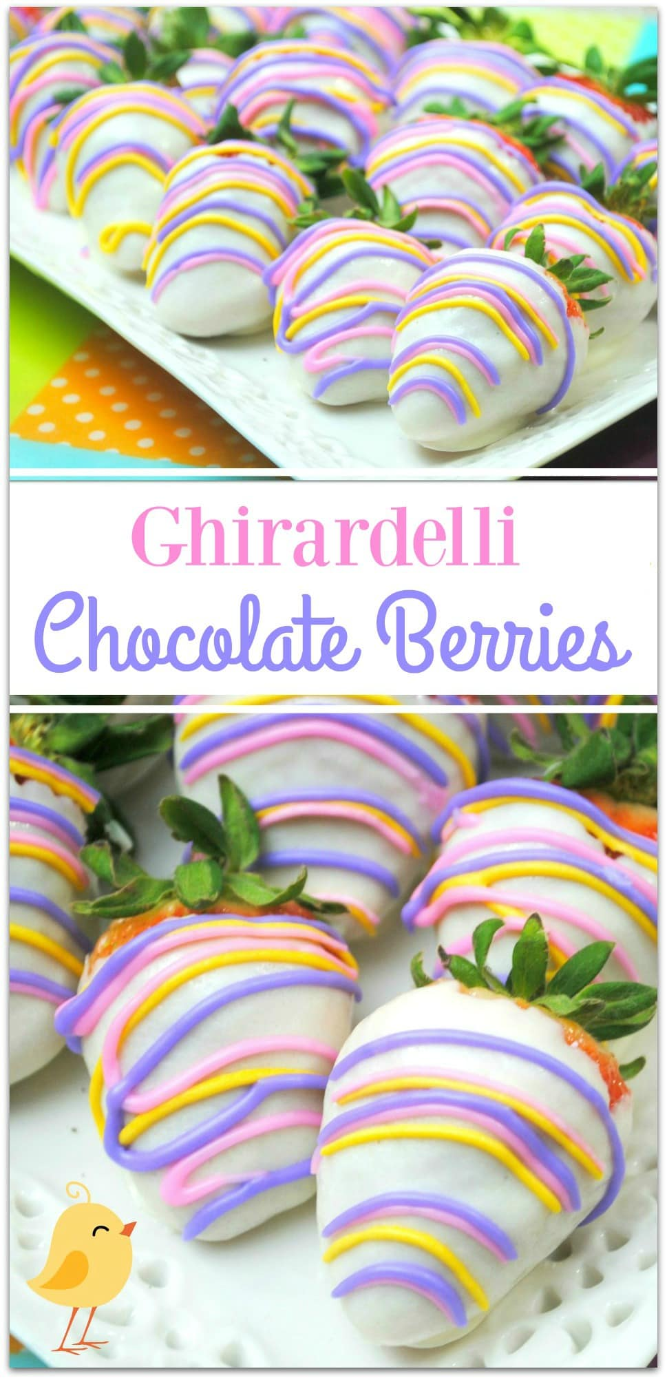 These Ghirardelli Chocolate Berries are so delicious, I could eat every last one all by myself! So pretty, dipped in Ghirardelli white chocolate and decorated with a drizzle of royal icing, this is such an easy recipe! These would be a special treat for so many occasions, like Easter, a baby shower, or any party where you want to bring a festive but easy dessert that won't keep you in the kitchen all day!