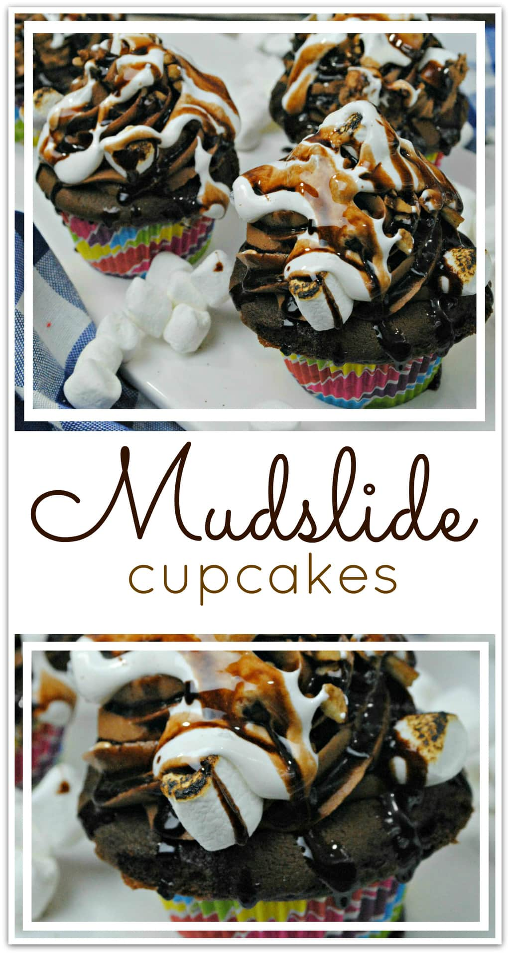 What could be better than Mudslide Cupcakes? There is one dessert I always want to order when it's on the menu, and that's a mudslide. However it's made, you know it's going to be good, right? I mean, when you combine chocolate, marshmallow fluff, toasted marshmallows, and crunchy walnuts, you just can't go wrong.