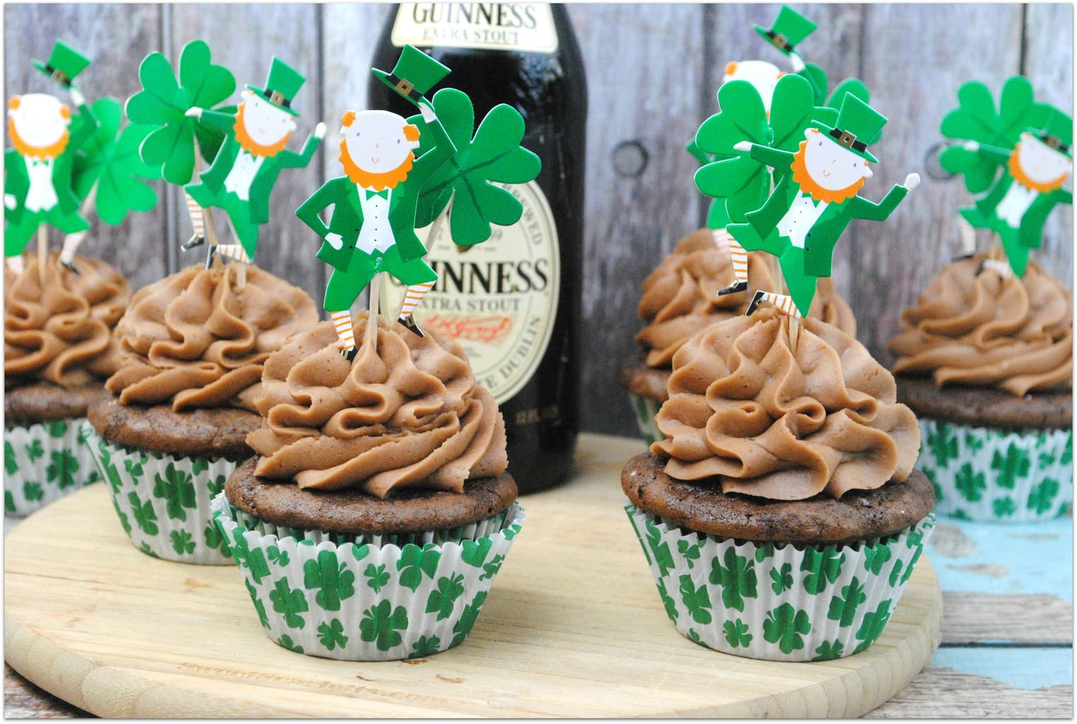 These Guinness Cupcakes with sweet cream chocolate frosting are to die for, and such an easy recipe to make! Not one for the kids as they are made with everyone's favorite Irish beer, but such a perfect dessert for that adult St. Patrick's Day Party!
