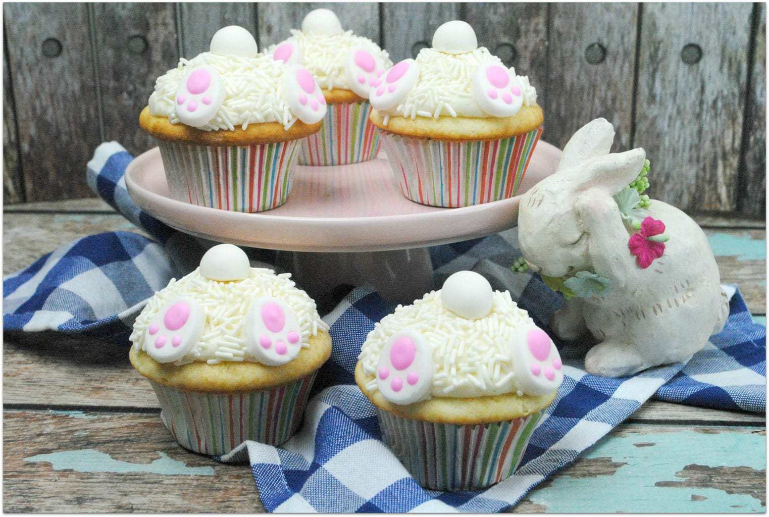 These Easter Bunny Cake Cupcakes are so stinkin' cute. Though I might prefer a cake if I'm making something for an elegant gathering of adults, cupcakes are always a better idea when it's a family event or a party where kids will be present.