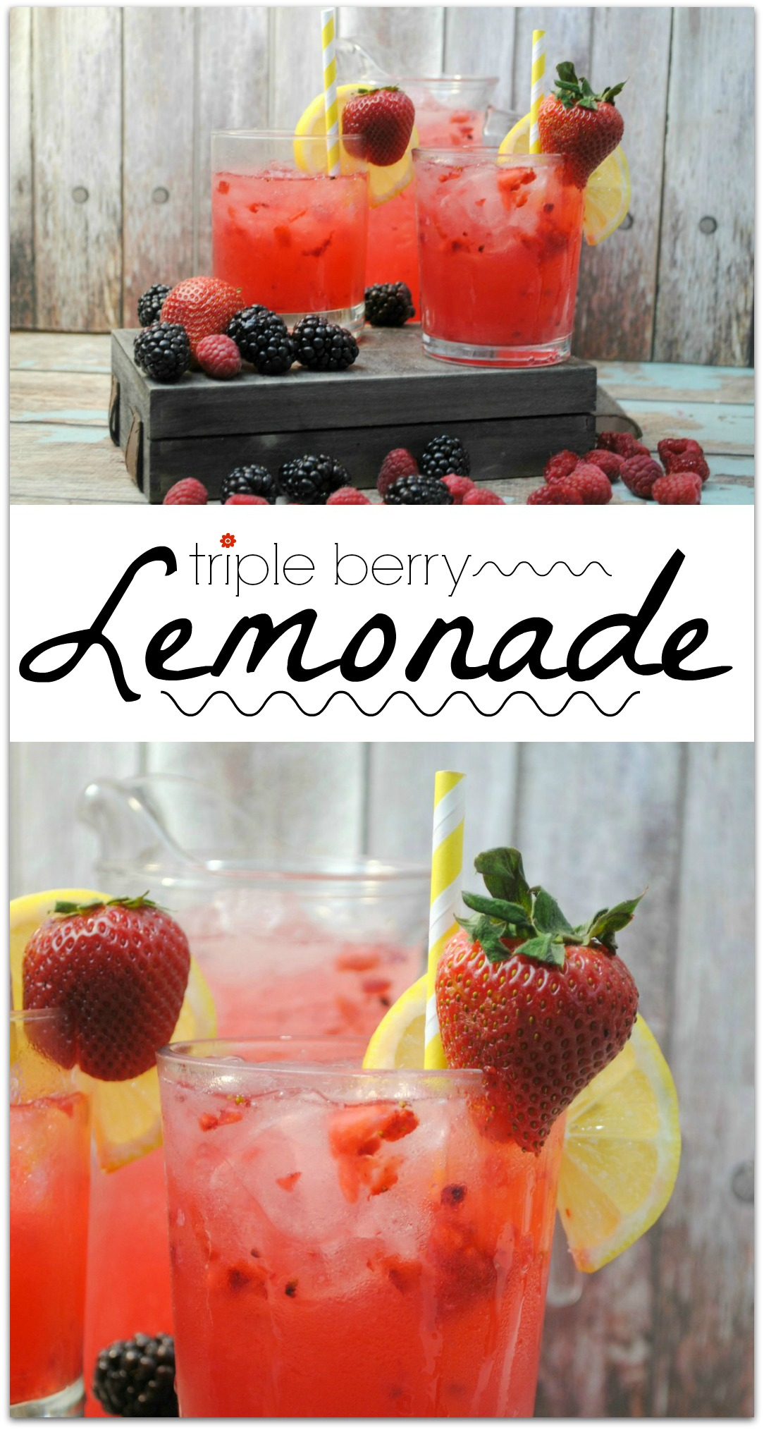 This refreshing triple berry lemonade is just what you need on a warm day, or anytime you need a cool and delicious drink! Such an easy recipe. The berries take lemonade to a whole new level!
