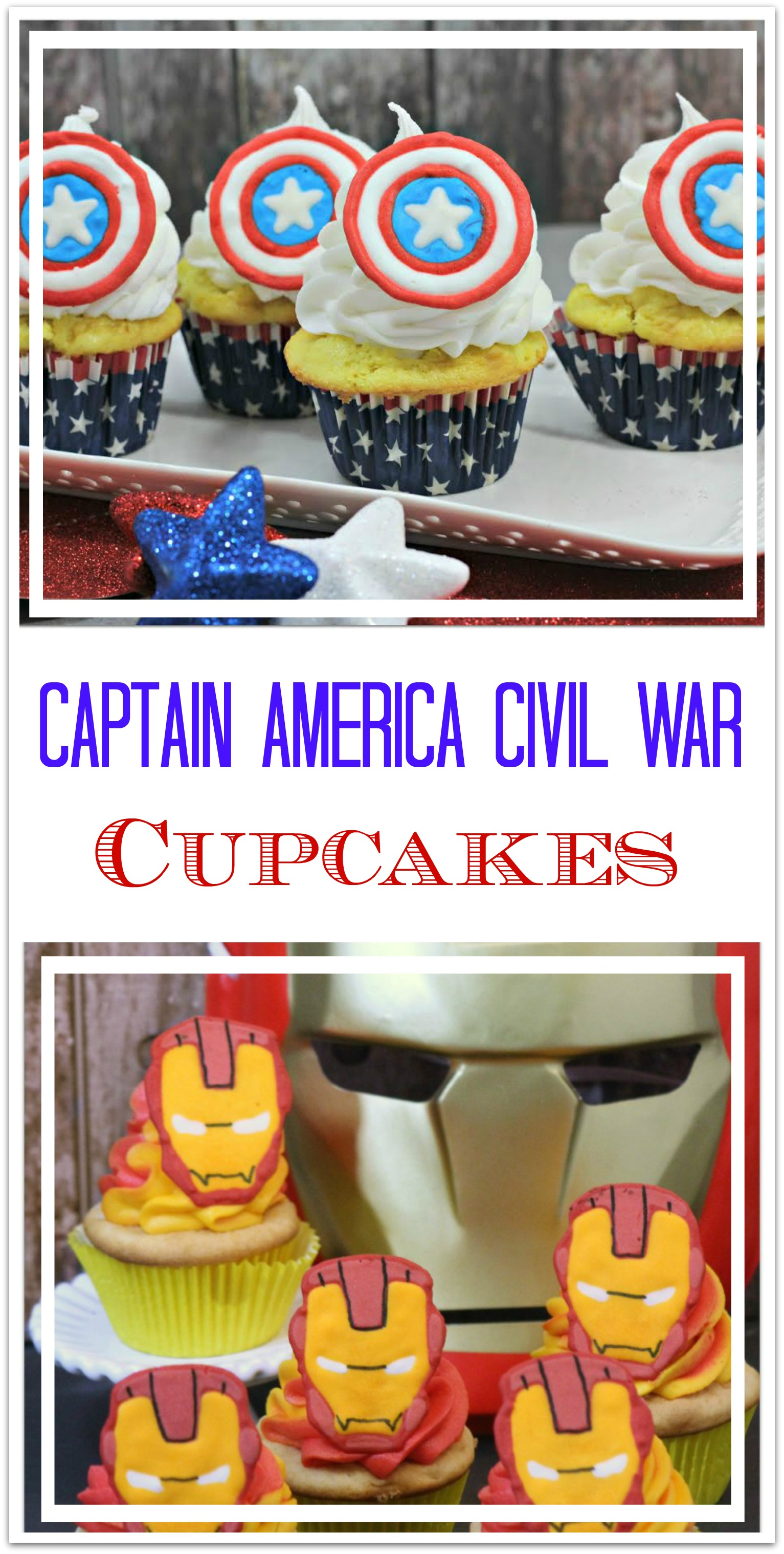 Who will you choose? Captain America or Iron Man? Either way, these cupcakes are so delicious! The perfect dessert for your party!
