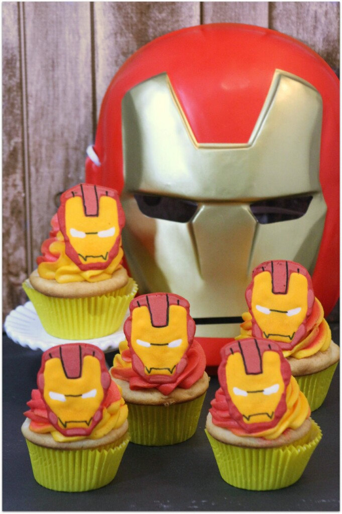 yellow cupcakes with Iron Man candies on top