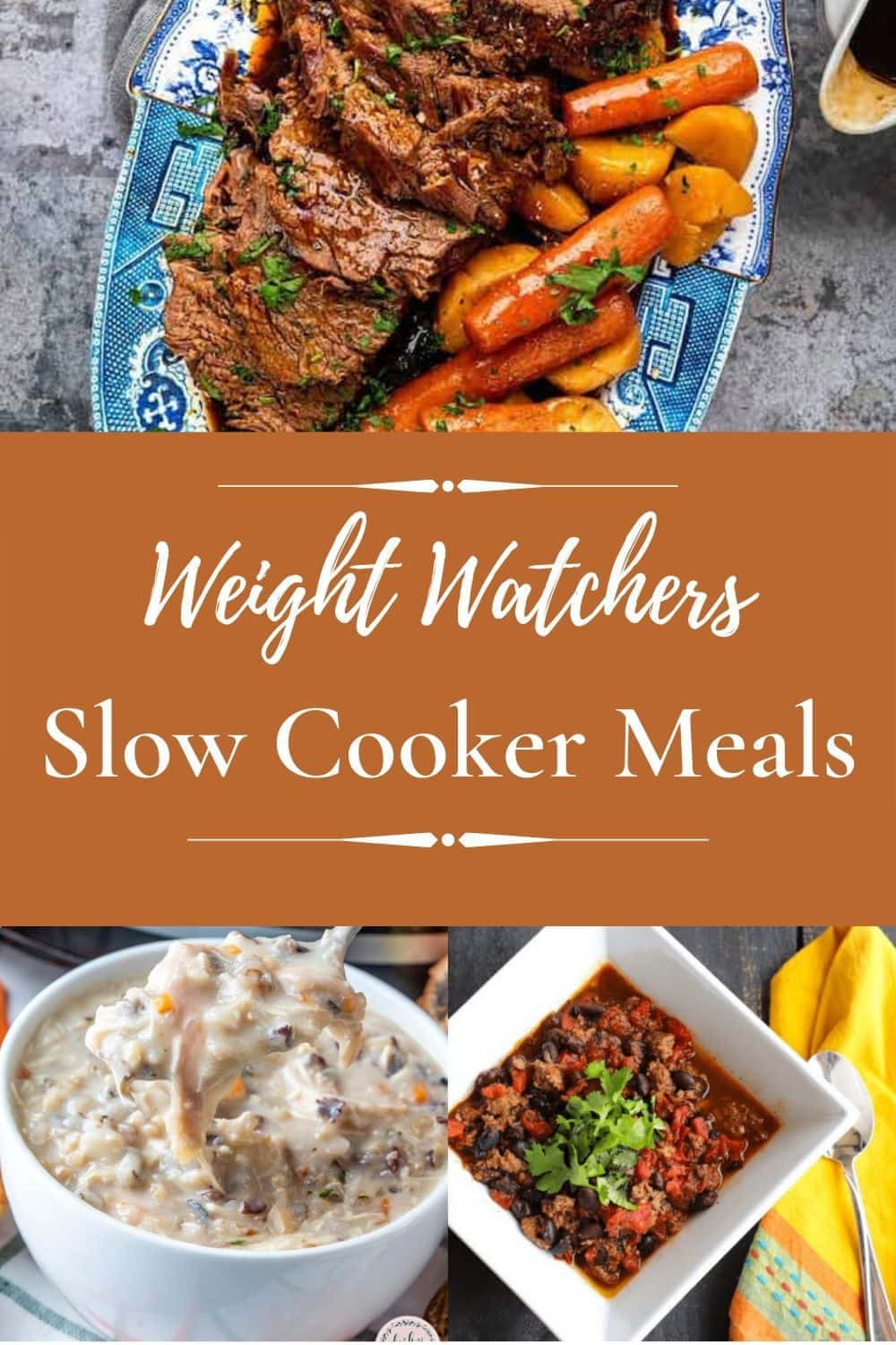 Group of Weight Watchers slow cooker meals