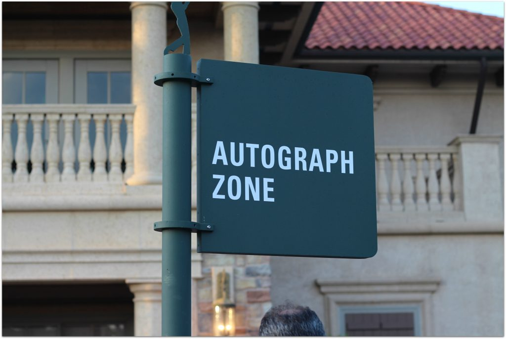 Autograph zones are located on the course at the main player practice grounds and the scoring area behind the 18 green. Both are marked with signage.The Practice Area is a must, and hanging out at The Terrace will give you the chance to have a beverage and watch both the chipping green and the Practice Area.