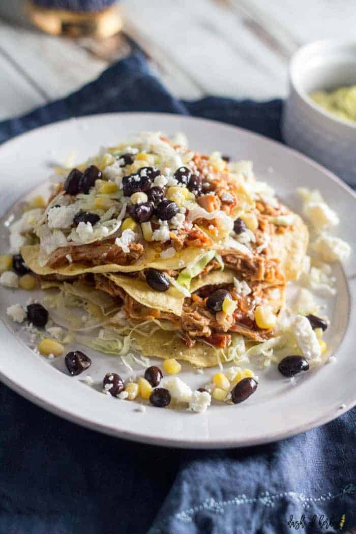 chicken tostadas on white plate