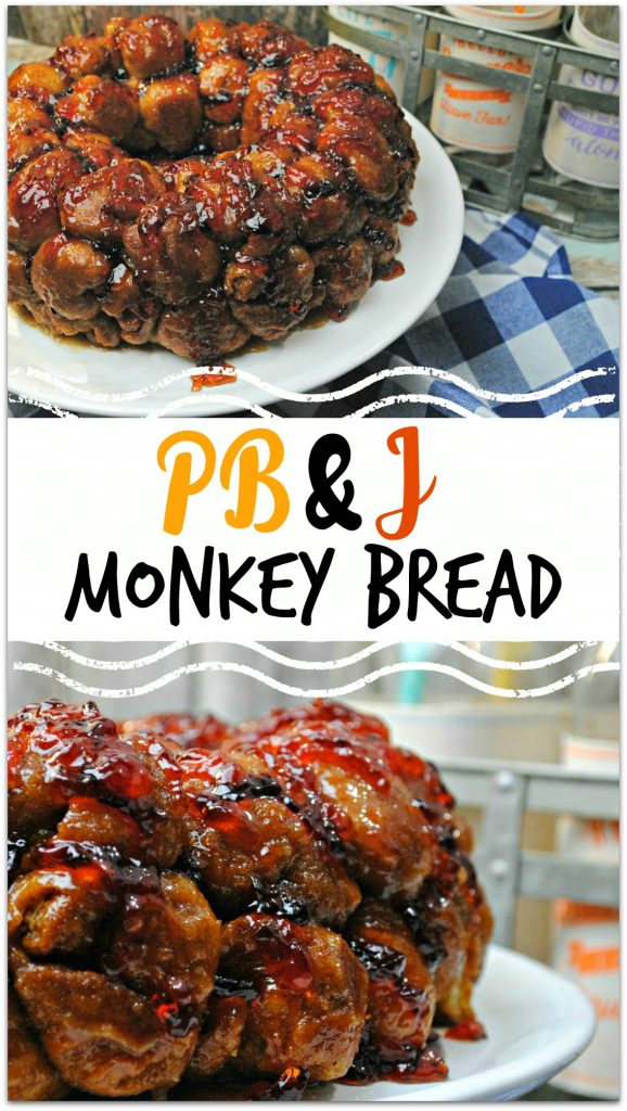 What could be better than a Peanut Butter and Jelly sandwich? Peanut Butter and Jelly Monkey Bread! The deliciousness of Monkey Bread combined with the homey flavors of PB & J is just fantastic, and it's so easy to make! Head to the kitchen with the kids and whip up this amazing dessert today! Your kids will love it! Take this to a party and be the rockstar guest!