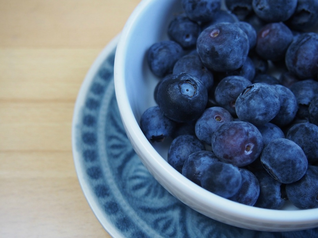 Blueberries in a light blue bowl.