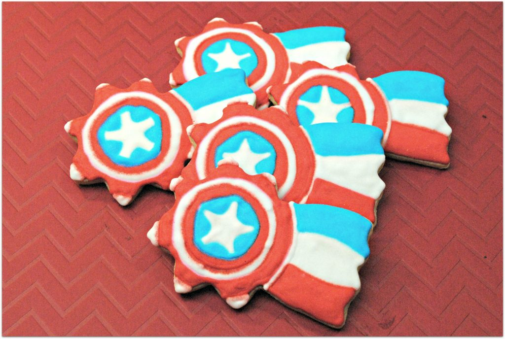 These Captain America Cookies are perfect for snacking while watching Captain America Civil War or any of the Cap movies. They would also be fun for a party with a patriotic theme, like July 4th!