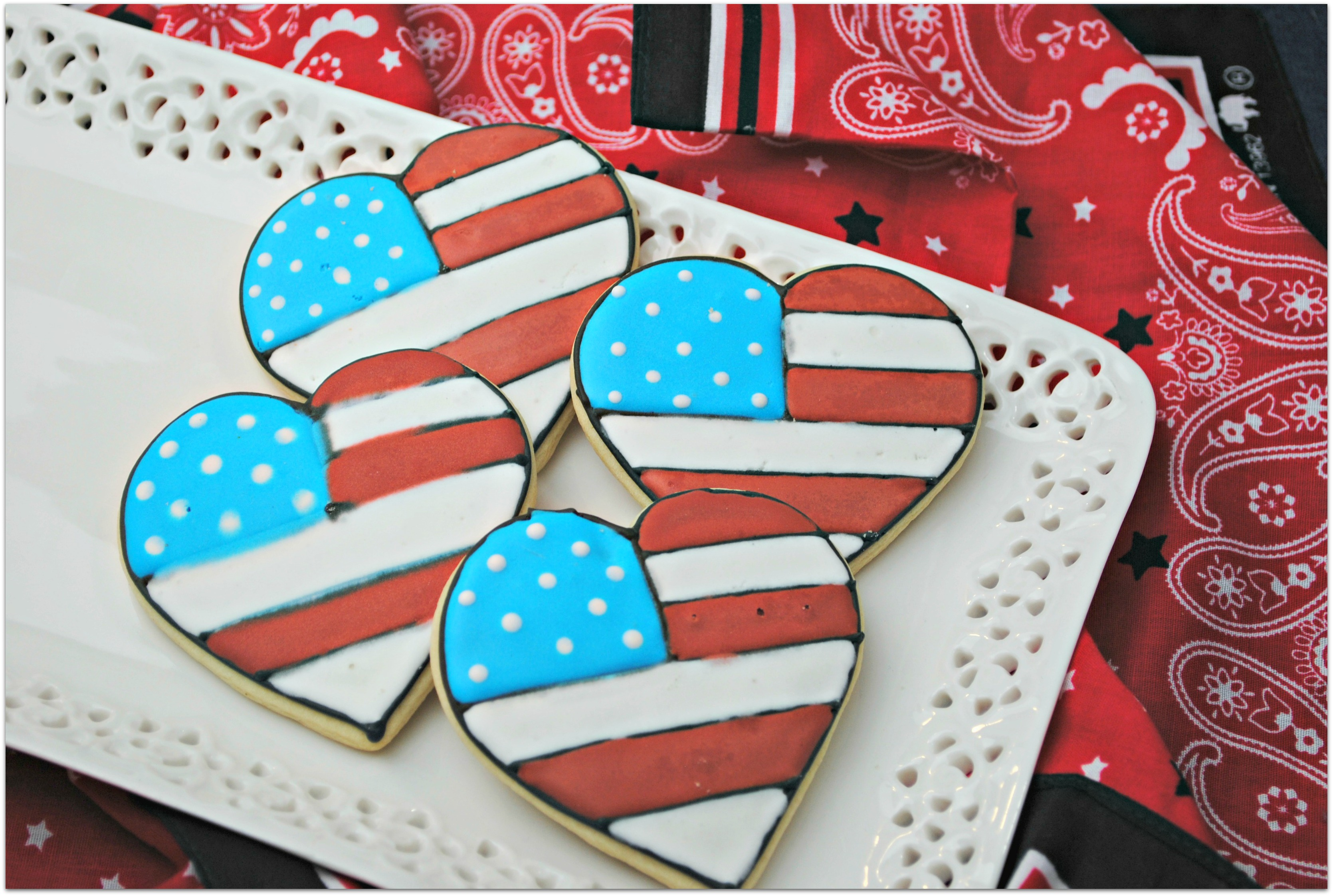 red, white, and blue sugar cookies