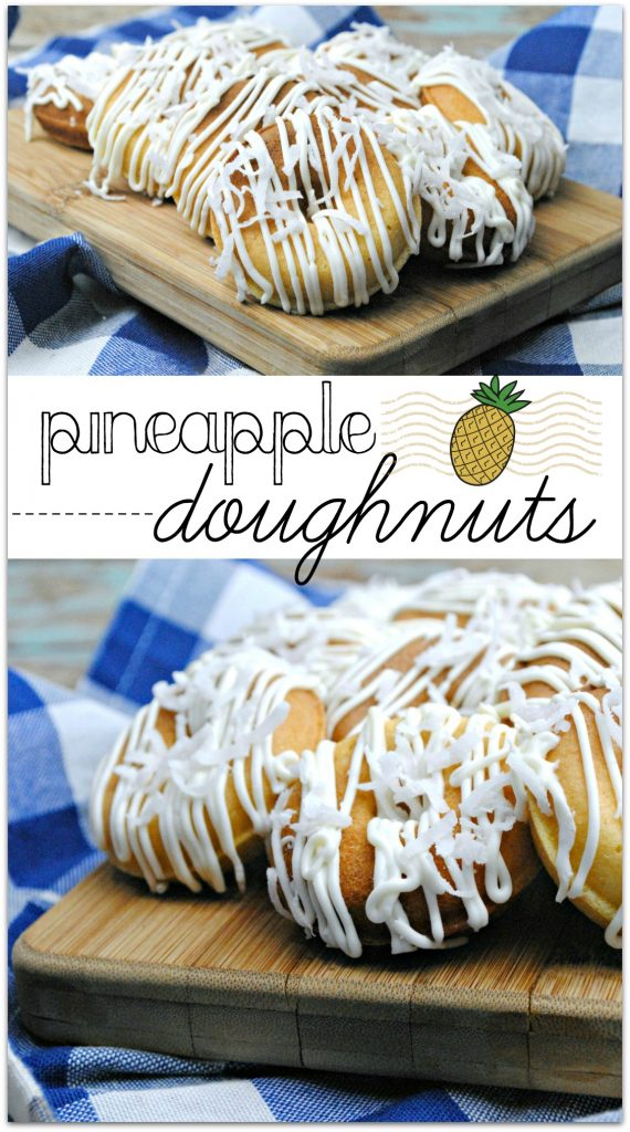 Doughnuts with crazy flavors are all the rage, and these Pineapple Doughnuts are the perfect easy recipe for a lazy weekend! Made with real pineapple and coconut, your family will love the tropical flavors.