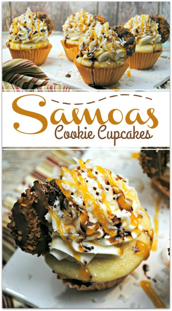 If you love Samoa Girl Scout cookies, you are in for a treat with these Samoa Cookie Cupcakes, made with the delicious ingredients in a samoa cookie.