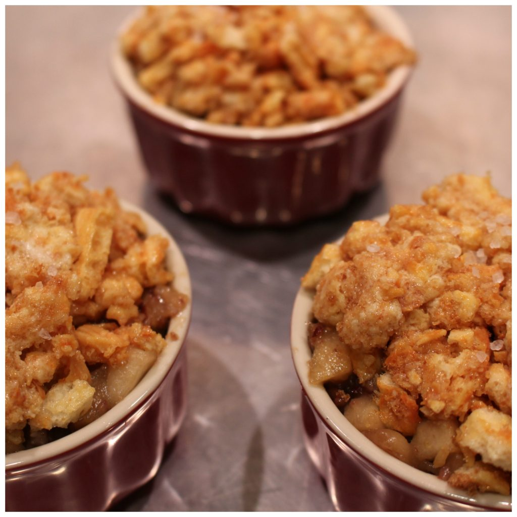 You are going to love this Crunchy Apple Crisp! When you're eating cooked apples, you have to have some crunch to go with the softness of the fruit