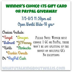 $75 Winner's Choice Gift Card Giveaway