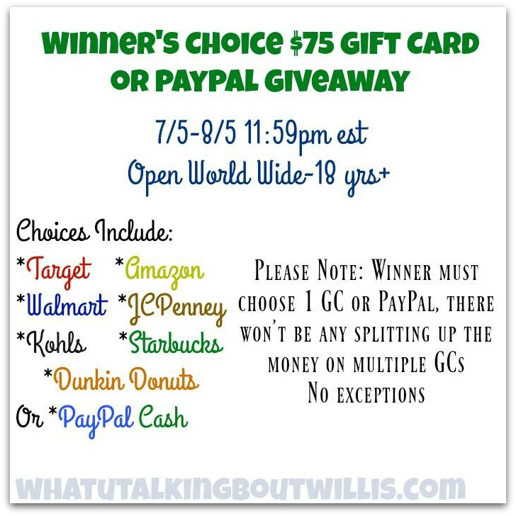 $75 Winner's Choice Gift Card or PayPal Giveaway