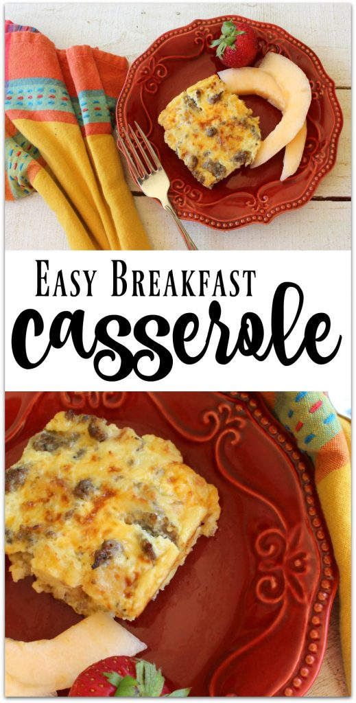 I love this breakfast casserole recipe because I can make it the night before and pop it in the oven in the morning and let it cook while I'm showering.