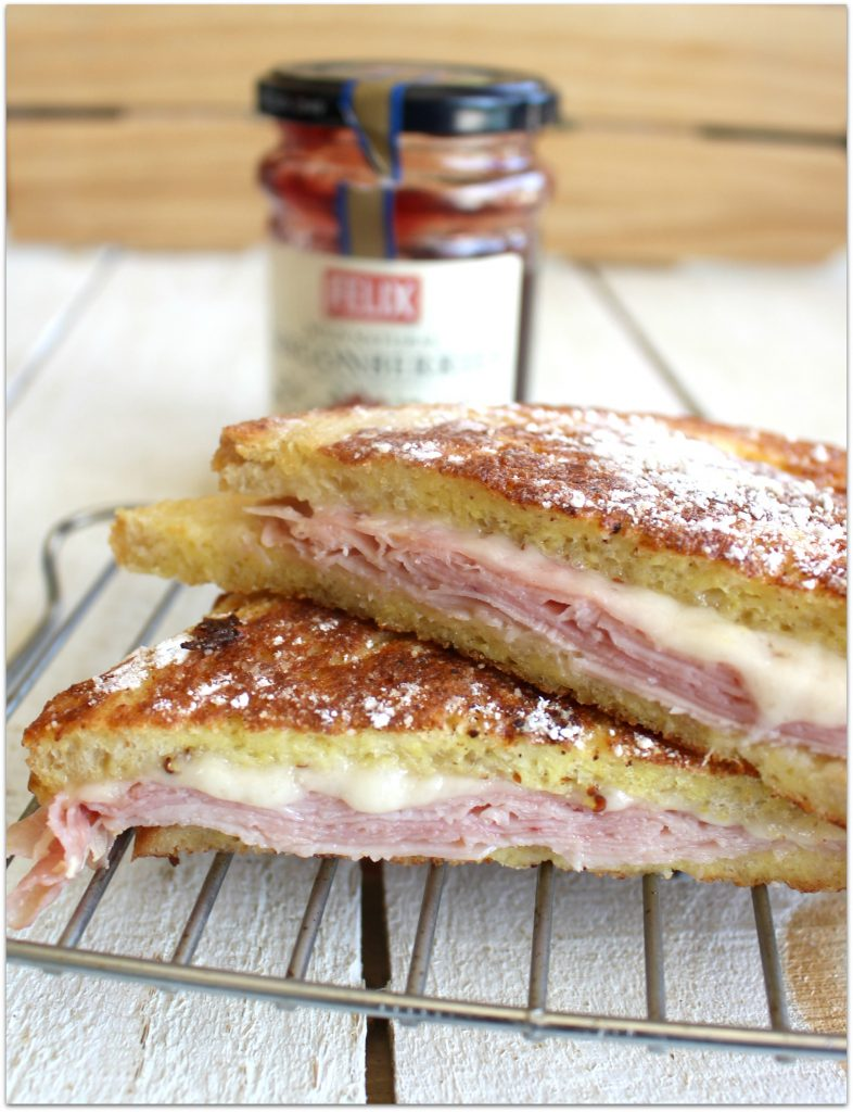 If you've had the Monte Cristo Sandwich, you know it's made like French toast. Slices of ham and Swiss cheese between two slices of bread, dipped in egg batter, browned, and sprinkled with powdered sugar. To top it off, there is a dipping sauce.