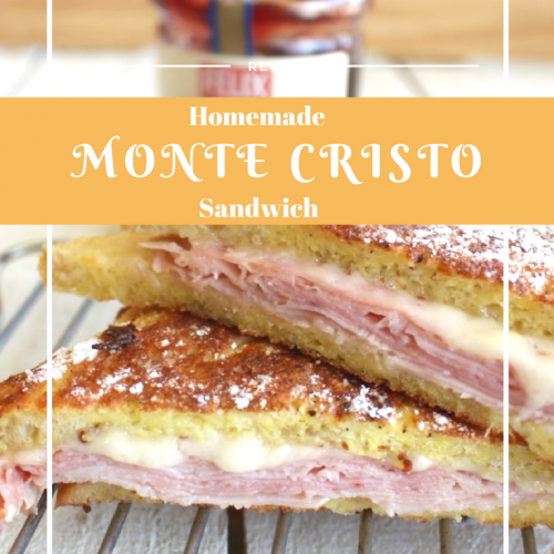 If you've had the Monte Cristo Sandwich, you know it's made like French toast. Slices of ham and Swiss cheese between two slices of bread, dipped in egg batter, browned, and sprinkled with powdered sugar. To top it off, there is a dipping sauce. |sandwich| dinner recipes | lunch recipes | ham recipes |