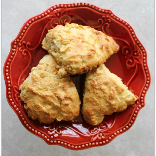 apple scones on a red plate