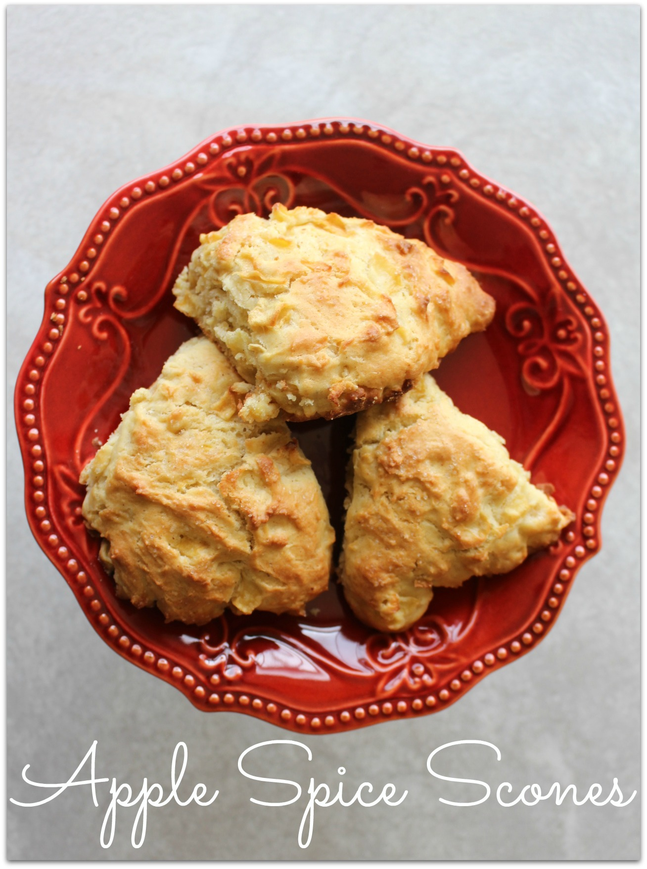Apple Spice Scones on a red plate