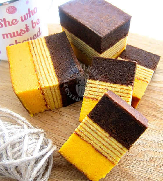 Yellow and brown layer cake from Indonesia.