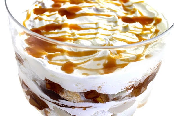 trifle dessert in a glass bowl