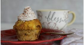 Pumpkin Bread Pudding with Pumpkin Spice Whipped Cream