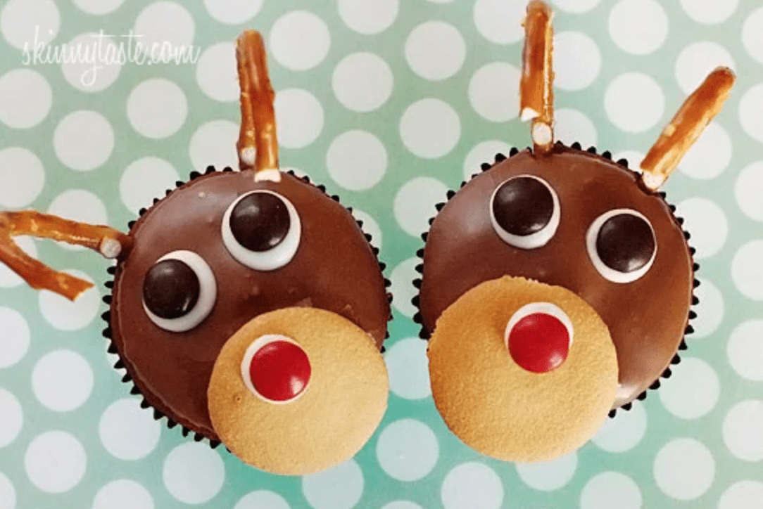 cupcakes with red nosed reindeer on top