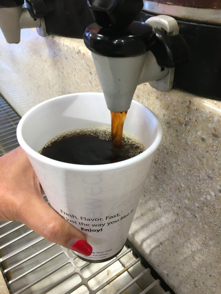 We all have different ways we get going in the morning. I'm a coffee girl. I want my coffee first thing in the morning. When my husband is in town, we brew a pot to share, but when he's not here as he travels a lot for work, I usually grab it on the road.