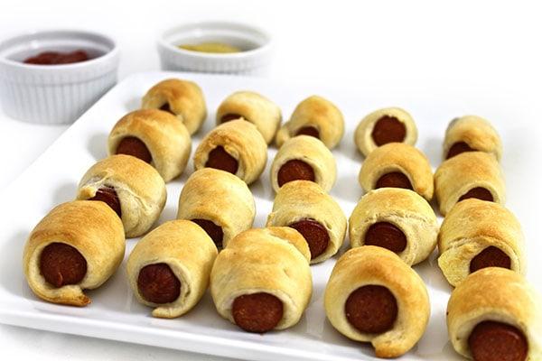 mini hot dogs in crescent rolls