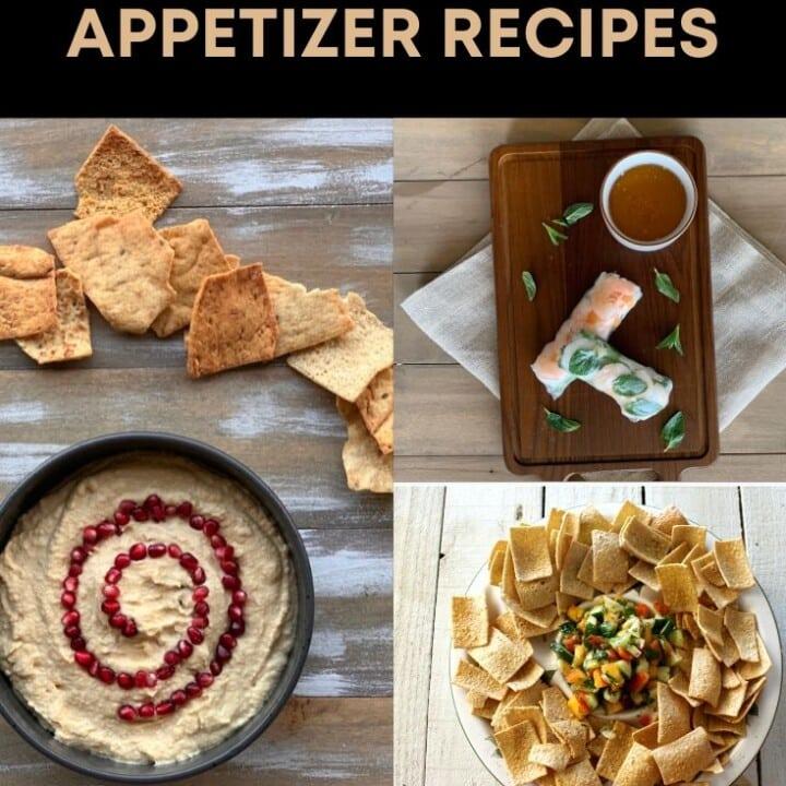 hummus, salsa, and summer rolls for Pinterest image