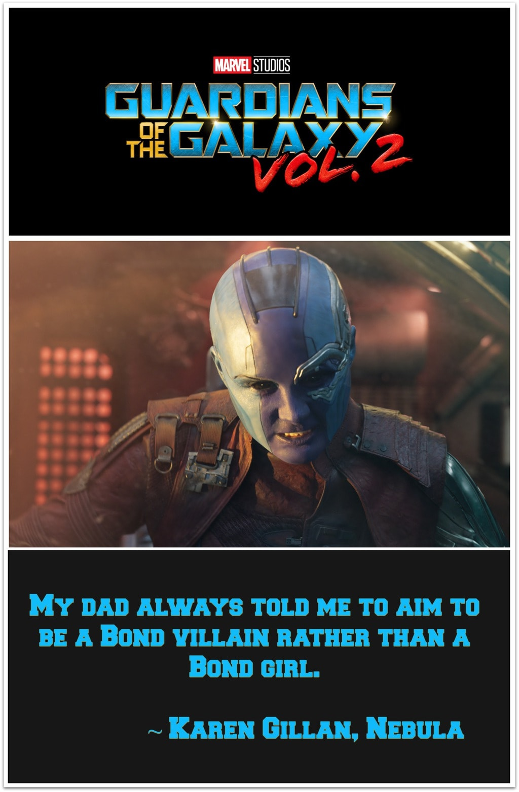I am so glad Nebula played by Karen Gillan is back for more in Guardians of the Galaxy Vol 2. We sat down with her in between filming,
