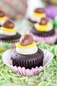 Cadbury cupcakes Easter dessert on Easter grass