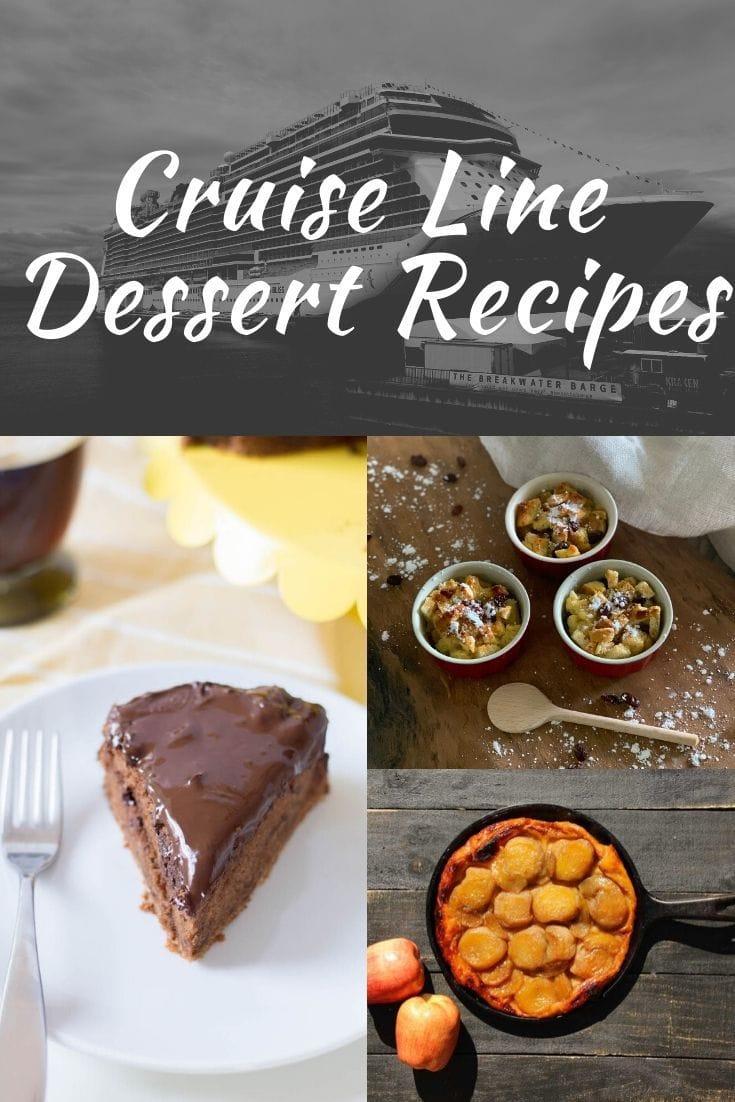 cruise line dessert recipes graphic for Pinterest