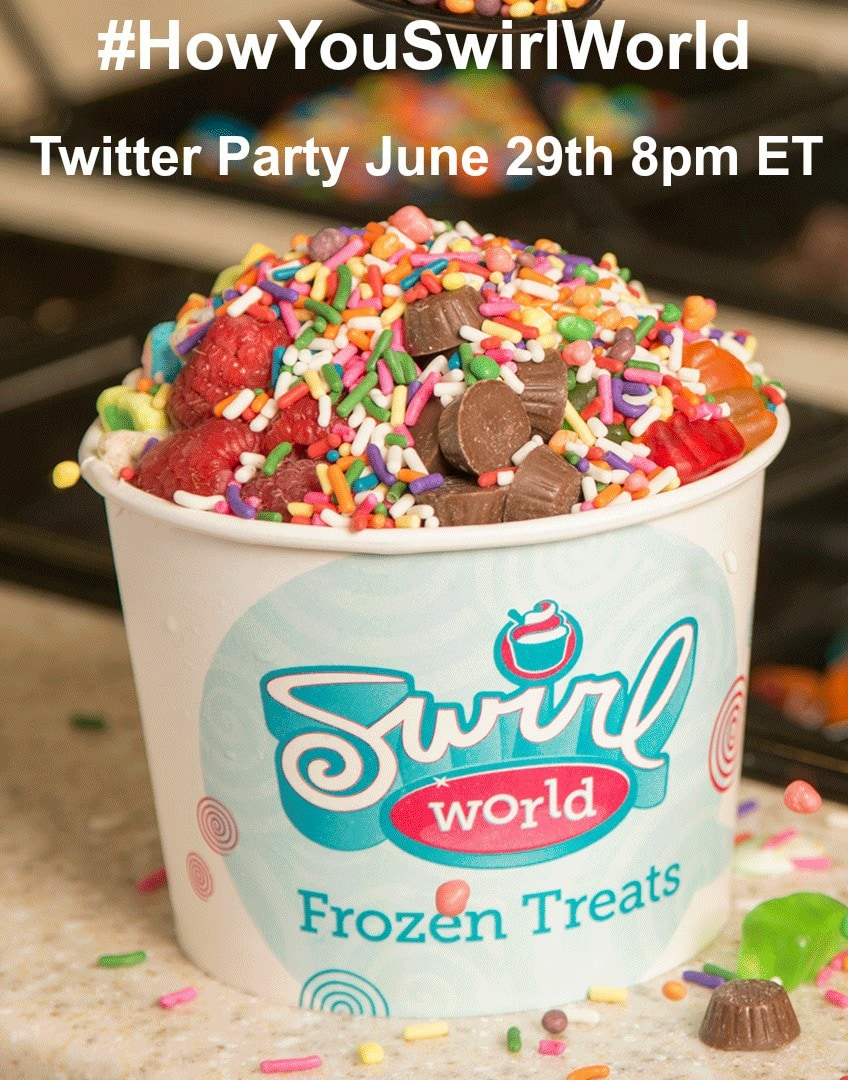 Who's ready to join me to chat about delicious frozen yogurtin flavors like Strawberry Sensation and Cookies and Cream that you can swirl for Neopolitan?