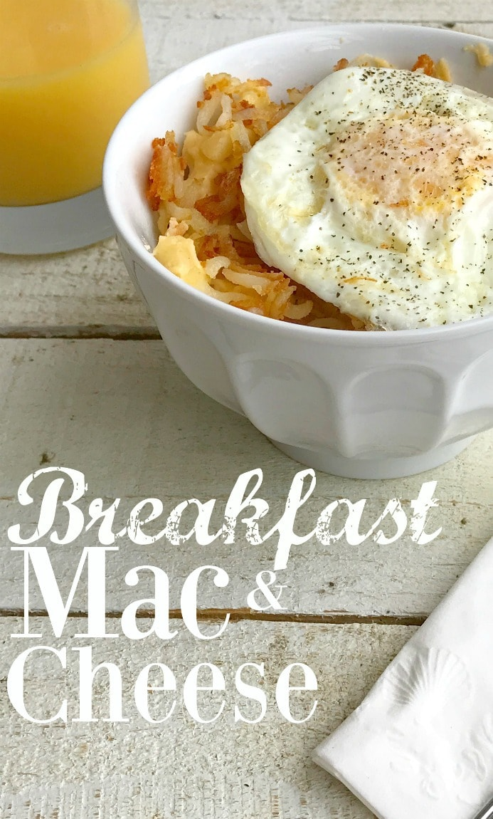 What took me so long to create a breakfast mac and cheese? All the deliciousness of mac and cheese pairs perfectly with breakfast, so I thought I'd combine them and see what we'd get.