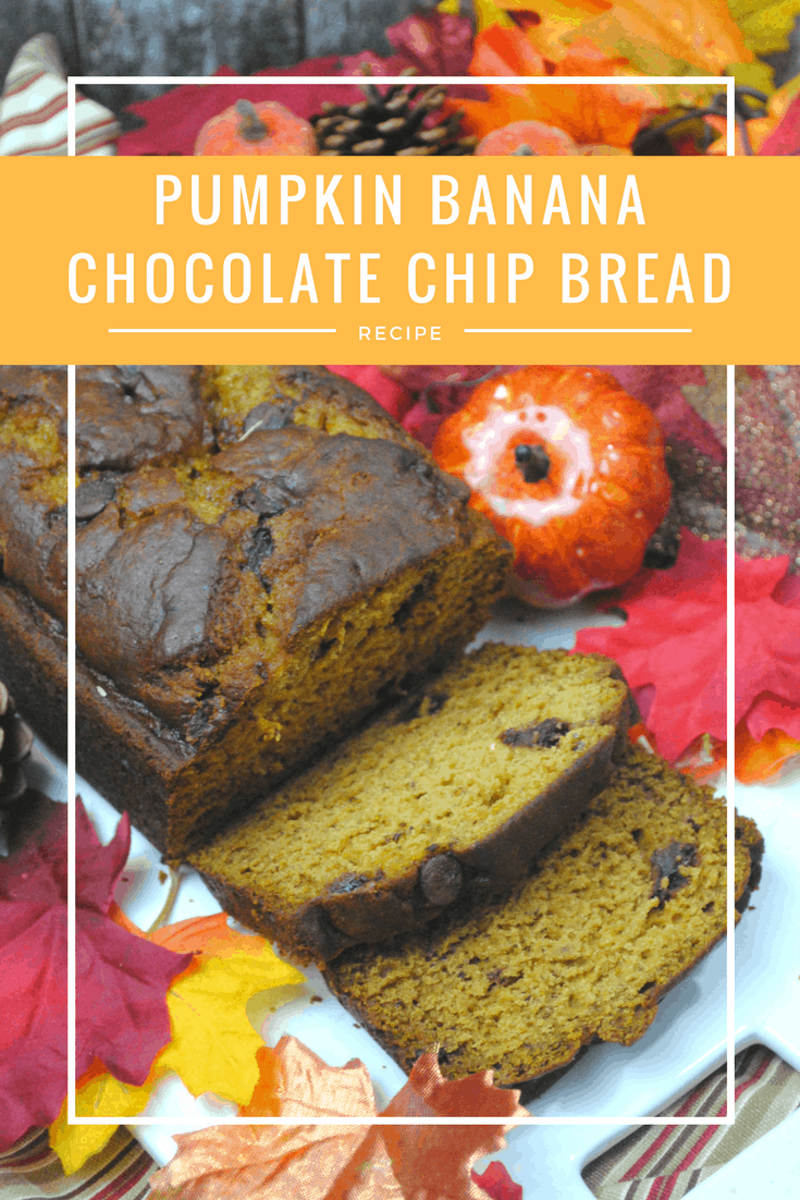This pumpkin and banana chocolate chip bread is so much better than plain old banana bread.