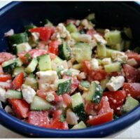 Greek cucumber and tomato salad with feta
