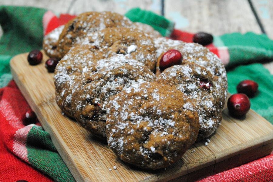 Gingerbread and cranberries with chocolate chips isnot a pairing I would have thought to put together, but these fall flavors meld into something wonderful. I think once you try this, it will become your new favorite cookies recipe.